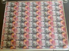 UNCUT 2001 $5 FEDERATION FULL SHEET OF 40 POLYMER AUSTRALIA UNC   MINTAGE 356