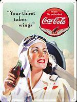 Coca Cola Ihr Durst Takes Flügel Groß Geprägtes Metall Zeichen 400mm x 300mm (Na