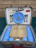 Vintage Picnic Hamper Set PicnicMaster British Vacuum Flask Co Blue 1950s/60s