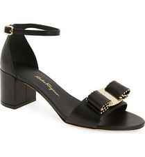 New Salvatore Ferragamo Gavina Studded Ankle-Strap Sandals, Black Leathe, US 8