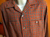 NEW LARGE TRUE VTG 50s VIRGIN WOOL LOOP BUTTON CAMP PLAID BUTTON DOWN SHIRT