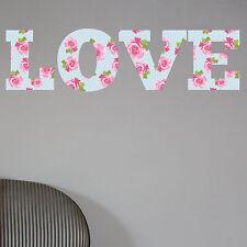 LOVE Shabby Chic Floral Full Colour Wall Sticker Decal Vinyl Art Decor vintage