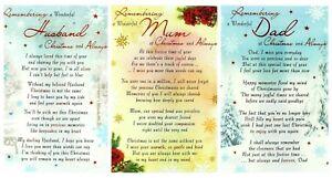 In Loving Memory Family Christmas Xmas Graveside Memorial Remembrance Grave Card