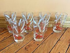 Set of 6 Vintage Drinking Glasses Tumblers Clear Gold Wheat Red Ribbon