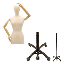Adult Female Mannequin Dress Form Torso with Flexible Arms & Rolling Black Base