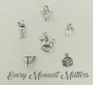 30 x Tibetan Silver BABY SHOWER CHARMS MIXED DESIGNS MIX No.1 Charms Pendants