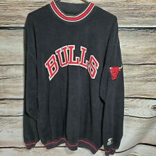 🔥Vintage Starter Chicago Bulls 🏀Fleece Sweater Sweatshirt NBA Throwback 90s🔥