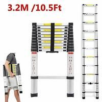 10.5/12.5FT Multipurpose Aluminum Ladder Fold Extend Telescopic Garden Tool New。