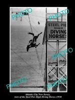 OLD LARGE HISTORIC PHOTO OF ATLANTIC CITY NEW JERSEY, STEEL PIER HORSE DIVE 1930
