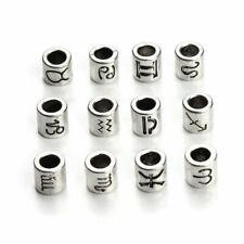 5 Pcs Zodiac Symbol Antiqued Silver 7.5 mm Tube Large 4.5 mm Hole Charm Bead
