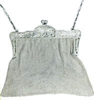 Antique French Sterling Silver Chain Mesh Purse