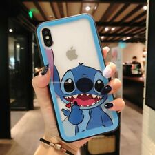 Cartoon Stitch Bear Tempered Glass Phone Case Back Cover For iPhone X 6 7 8 Plus
