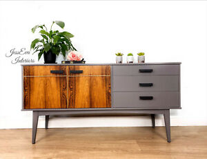 Mid Century Modern Vintage Retro SIDEBOARD / TV CABINET in Grey and Wood