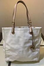 Michael Kors MK Monogram White Gloss Pattens Leather Handbag Tote Purse