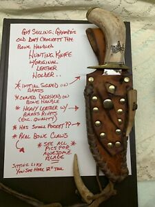 Antique Bone Handle Hunting Knife Carved Deer 🦌 Bear Claws W Leather Sheath