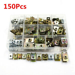 150Pcs Car Retainer Self-tapping Metal U-Type Screw Nut Clips For Fender Bumper