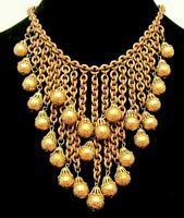 """Rare Vintage 16""""x4"""" Early Miriam Haskell Brass Bead Bib Statement Necklace A74"""