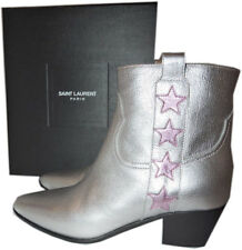 Ysl Saint Laurent Rock 36 Star Boots Silver Ankle Booties Low Heel Shoe