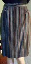 ESCADA VTG 1990s Straight Pencil Wool Skirt~Black-Grey-Cognac Stripes~EU 34/4 US