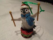 "Penguin Baby Animal Christmas Ornament 3"" Figurine with drum stick Danbury w Tag"