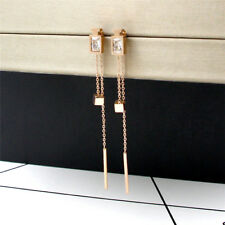 Cool On Trend Rose Gold Plated Rectangle Bar Long Crystal Cube Fashion Earrings
