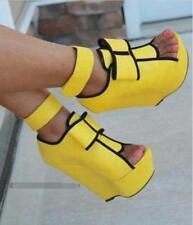 WOmen's High wedge Heeled Platform Sandals Big Bow Gladiator Peep Toe club shoes