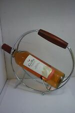 CHROME WINE BOTTLE RACK. WOODEN HANDLE. (WINE NOT INCLUDED) VGC