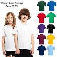 Boys Girls Plain Polo Shirt School P.E Sports GYM Ages 3 4 5 6 7 8 9 10 11 12 13