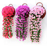 Hanging Wall Artificial Silk Violet orchid Flower Rattan Plant Basket Outdoor