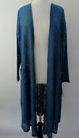 L - Large LuLaRoe Sarah Duster Cardigan Beautiful Solid Blue Floral Lace NWT 54