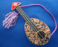 "vintage mandolin musical instrument Christmas ornament 6"" wood & fabric"