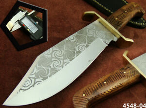 ALISTAR CUSTOM HANDMADE ACID ETCH STAINLESS STEEL HUNTING BOWIE KNIFE (4548-4
