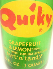 vintage ACL Soda POP Bottle: green QUIKY GRAREFRUIT of NEW HAVEN, CONN - 32 ACL