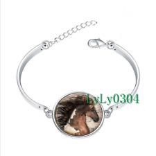 Horse Equine Cowgirl glass cabochon Tibet silver bangle bracelets wholesale