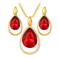 Nuevo 18k Chapado En Oro Rojo Swarovski Elemento Cristal Colgante Collar Y Pendiente