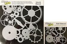 """The Crafter's Workshop Set of 2 Stencils Stencil Gears 12x12"""" Large & 6x6"""" Small"""