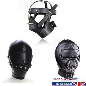 Gimp Head Harness Lockable Riding Hood Ball Gag Mask Bondage Fetish Sex Toy BDSM