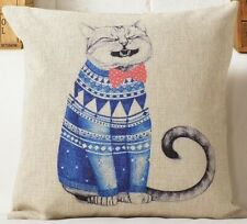Blue Sweater Funny Cat Print Cushion Cover