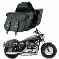 2 Piece Motorbike Motorcycle Leather Luggage Saddle Bags Panniers Touring Bag