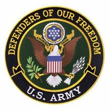 """US ARMY DEFENDERS OF FREEDOM 5"""" Circle sew on high quality EMBROIDERY EMBLEM-Pat"""