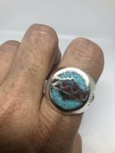 Vintage White Bronze Southwestern Real Turquoise Coral Inlay Stone Ring Size 10