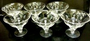 SET 6 PERFECT RETRO VINTAGE STUART CRYSTAL GRAPE DESIGN FOOTED  DISHES/CHAMPAGNE