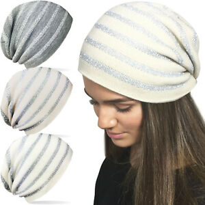 Ladies Womens Winter Slouch Beanie Hat Stripe Metallic Glitter Sparkle Print