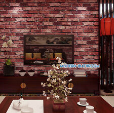 RETRO REALISTIC SLATE STONE EFFECT 3D RED WALL OLD BRICK FEATURE MURAL WALLPAPER
