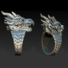 Jewelry Rings Ring Punk Size 10 925 Silver Filled Party Men Gifts Fashion Dragon