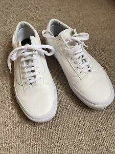 Vans Old Skool White Leather Trainers Plimsoles Uk 7 40.5