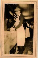 Vintage Antique Photograph Man Preparing Food in Old Time Restaurant / Store