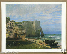 Courbet The Cliff of Etretat after the Storm Vintage Lithograph from 1960s