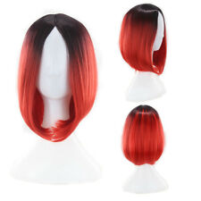 Womens Rainbow Ombre Hair Full Wig Long Curly Wavy Straight Cosplay Fancy Dress