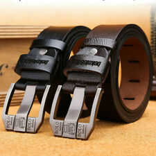 Mens Genuine Leather Belt Belts Real New Buckle For Trouser Jeans Black Brown